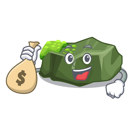 With money bag cartoon green rock sample of high grade vector illustration  イラスト・ベクター素材