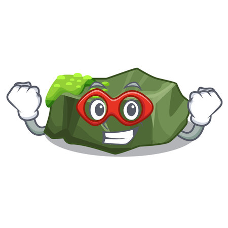 Super hero cartoon moss grow on sea rock vector illustration