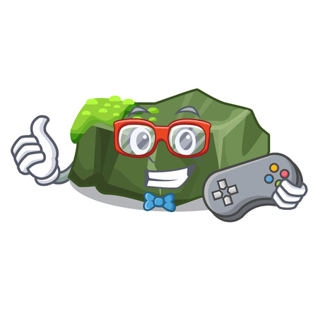 Gamer cartoon large stone covered with green moss vector illustration