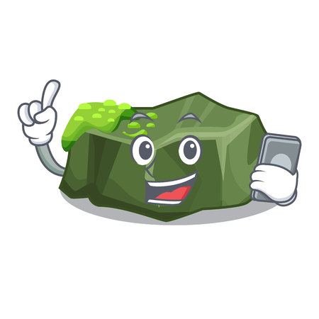 With phone cartoon green rock sample of high grade vector illustration
