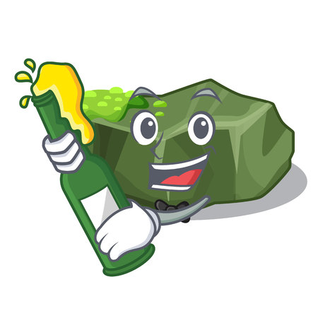 With beer green rock moss isolated on cartoon vector illustration