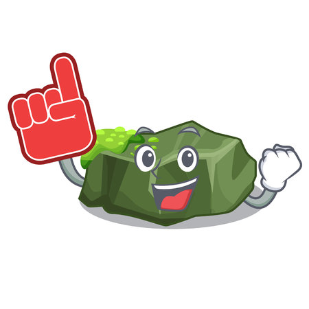 Foam finger green rock moss isolated on cartoon vector illustration