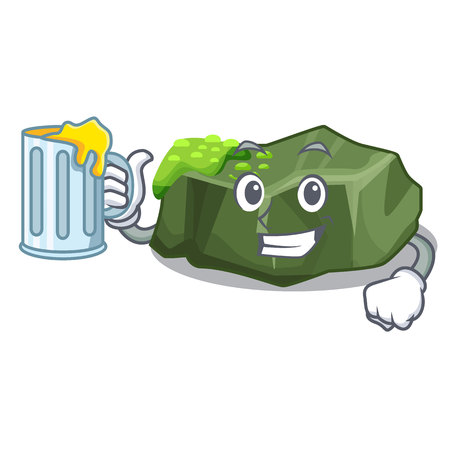 With juice cartoon large stone covered with green moss vector illustration