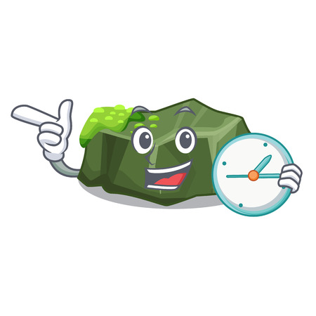 With clock cartoon moss grow on sea rock vector illustration