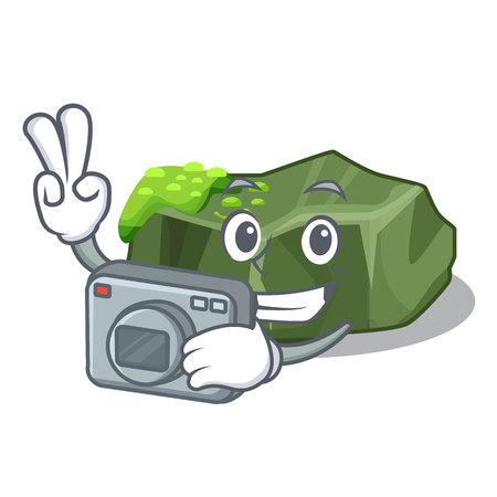 Photographer cartoon large stone covered with green moss vector illustration