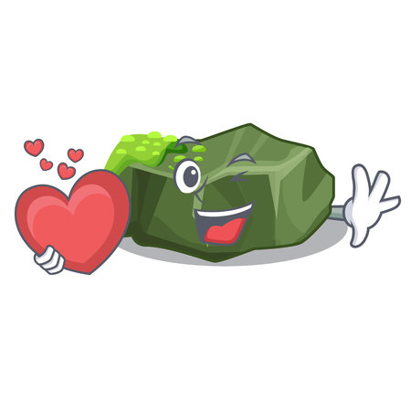 With heart cartoon large stone covered with green moss vector illustration Çizim