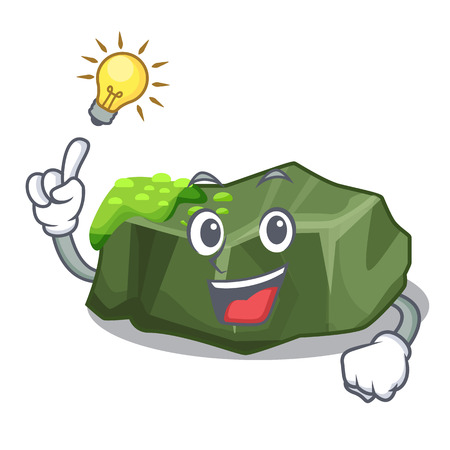 Have an idea green rock moss isolated on cartoon vector illustration