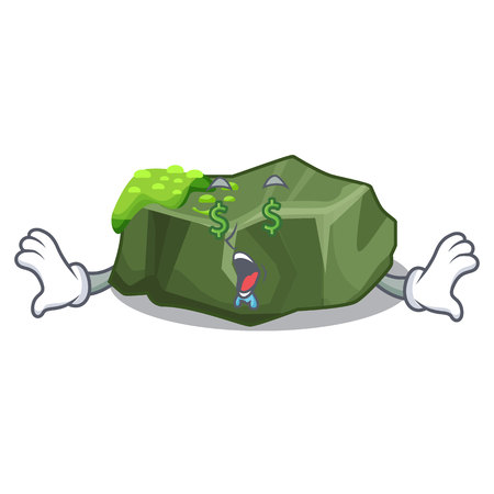 Money eye green rock moss isolated on cartoon vector illustration Illusztráció