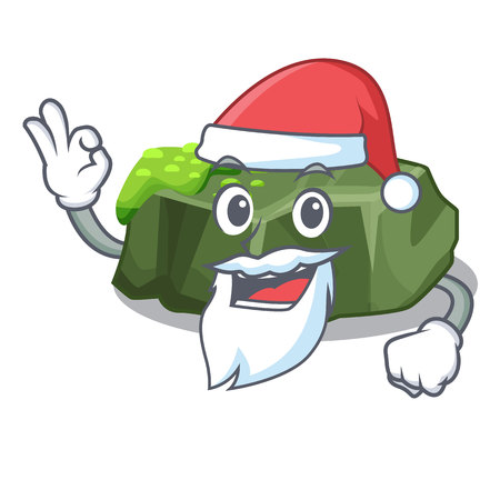 Santa green rock moss isolated on cartoon vector illustration