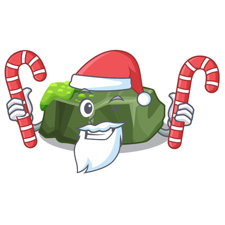 Santa with candy green rock moss isolated on cartoon vector illustration