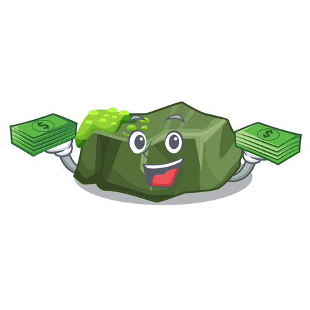 With money cartoon large stone covered with green moss vector illustration Stock Illustratie