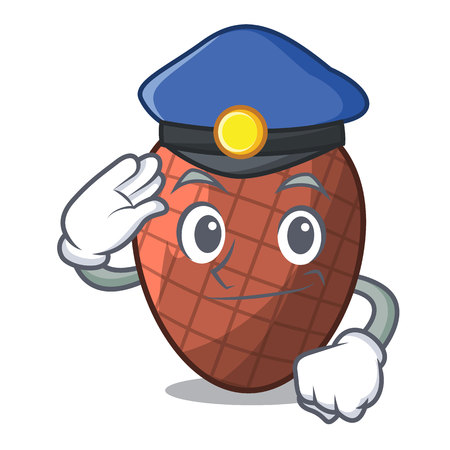 Police character cartoon on moriche palm fruit vector illustration