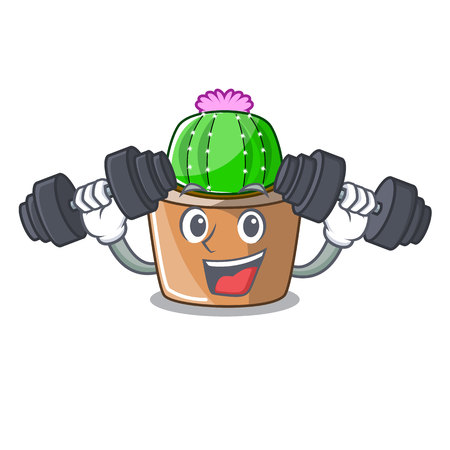 Fitness character cartoon flower of star cactus vector illustration Illustration