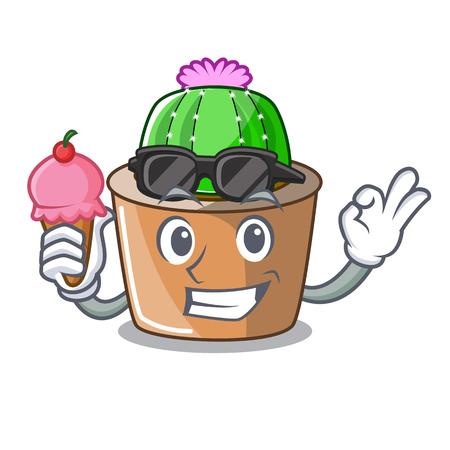 With ice cream cartoon star cactus plants at cactus farm vector illustration
