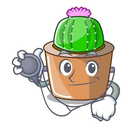 Doctor character cartoon flower of star cactus vector illustration