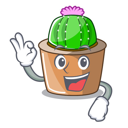 Okay cartoon star cactus plants at cactus farm vector illustration