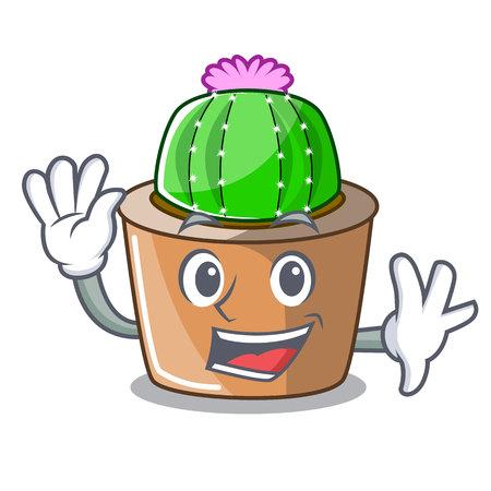 Waving cartoon star cactus plants at cactus farm vector illustration