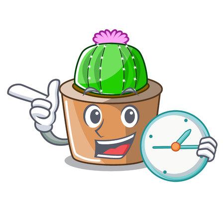With clock cartoon star cactus plants at cactus farm vector illustration