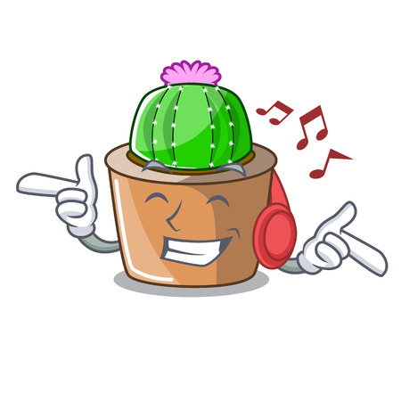 Listening music cartoon star cactus in flower pot vector illustration Çizim