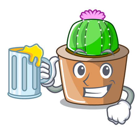 With juice cartoon star cactus in flower pot vector illustration