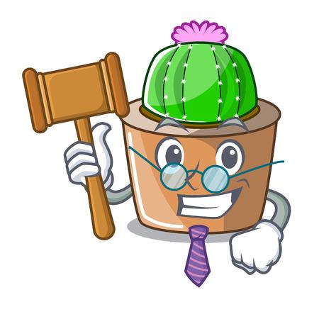 Judge mascot star cactus decorate in the garden vector illustration