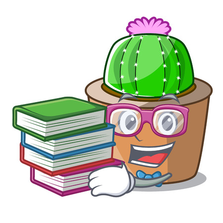 Student with book mascot star cactus decorate in the garden vector illustration Illustration