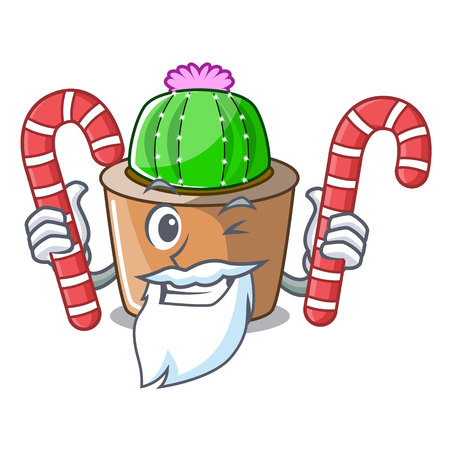 Santa with candy mascot star cactus decorate in the garden vector illustration
