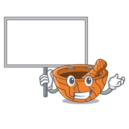 Bring board handmade wooden mortar isolated on cartoon vector illustration