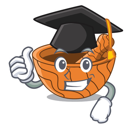 Graduation character cartoon wooden mortar and pestle vector illustration