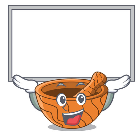 Up board handmade wooden mortar isolated on cartoon vector illustration
