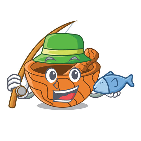 Fishing cartoon wooden mortars with metallic pestles vector ilustration