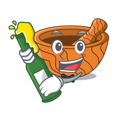 With beer wooden kitchen mortar isolated on mascot vector illustration Vectores