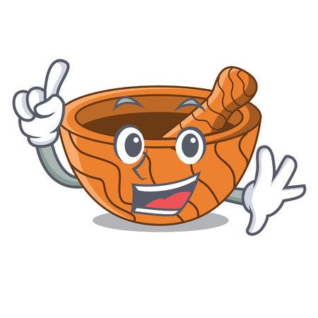 Finger wooden kitchen mortar isolated on mascot vector illustration