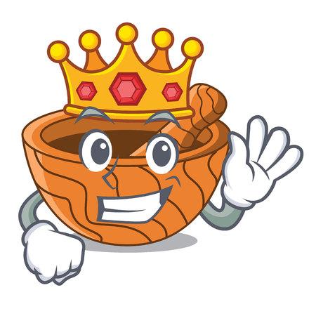 King wooden kitchen mortar isolated on mascot vector illustration
