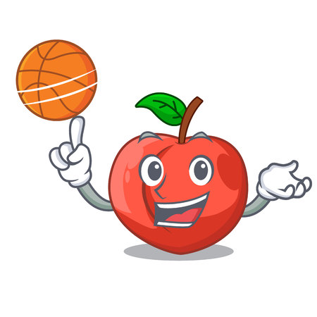 With basketball nectarine with leaf isolated on cartoon vector illustration Иллюстрация