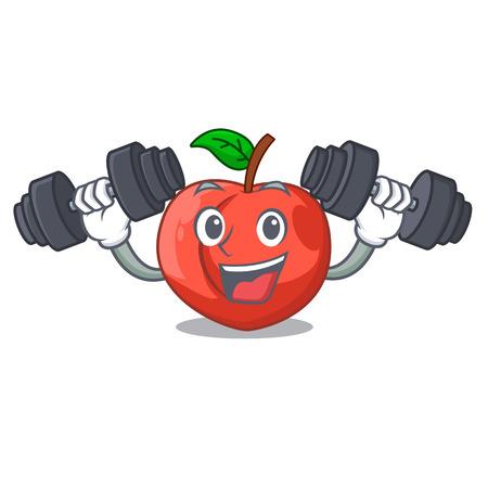 Fitness nectarine with leaf isolated on cartoon vector illustration