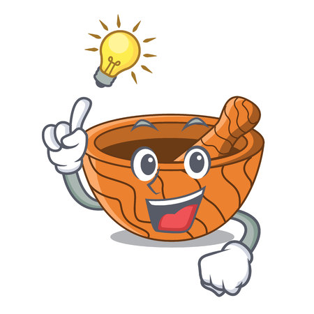 Have an idea wooden kitchen mortar isolated on mascot vector illustration Vectores