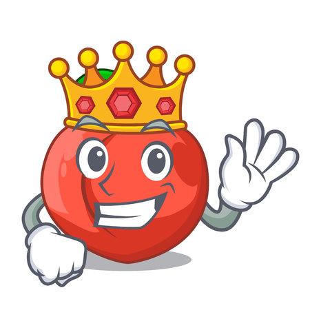 King fruit of nectarine isolated on mascot vector illustration