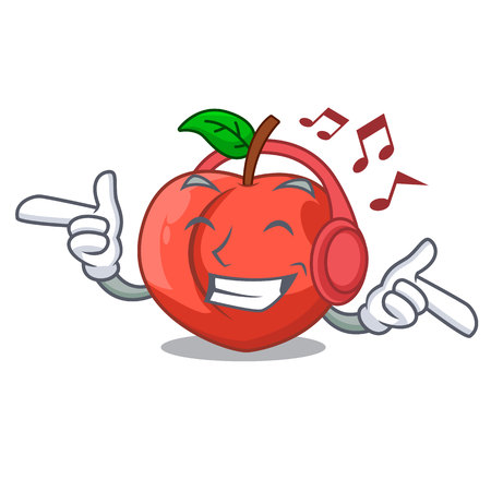 Listening music cartoon fresh sweet nectarines in the garden vector illustration Иллюстрация