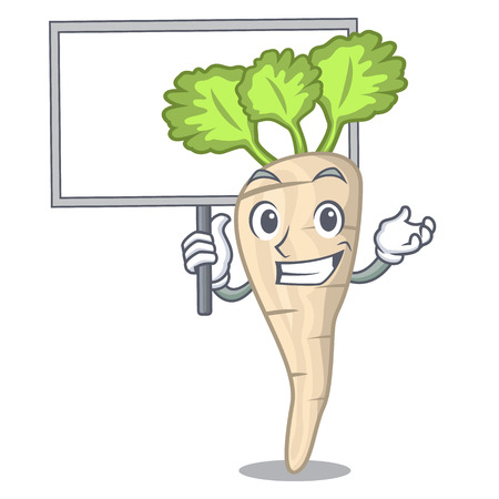 Bring board character parsnip root with leaf cartoon vector illustration