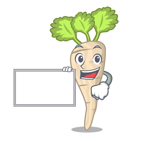 With board character parsnip root with leaf cartoon vector illustration