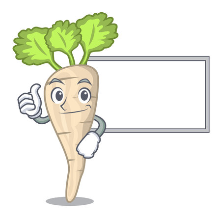 Thumbs up with board character parsnip root with leaf cartoon vector illustration