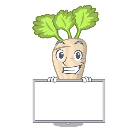Grinning with board character parsnip root with leaf cartoon vector illustration