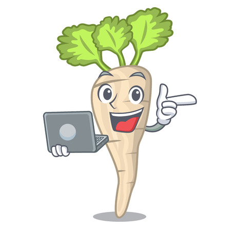 With laptop character parsnip root with leaf cartoon vector illustration Ilustracja