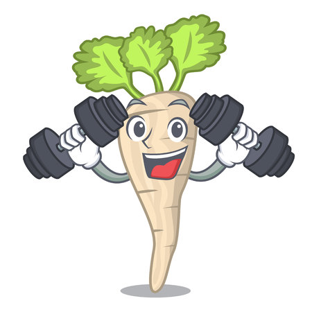 Fitness character parsnip root with leaf cartoon vector illustration