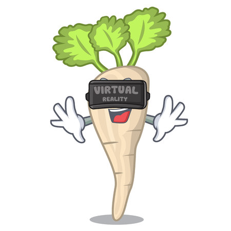 Virtual reality fresh parsnip roots on a mascot vector illustration