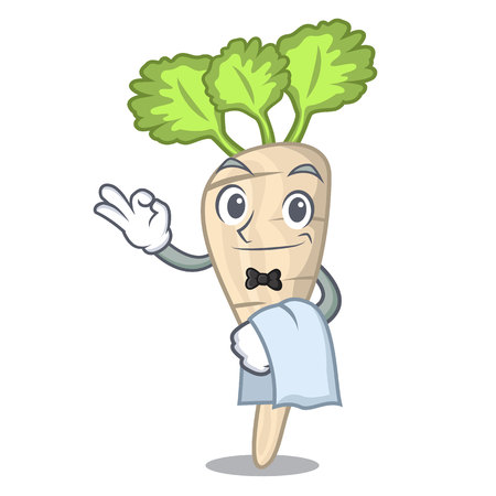 Waiter fresh parsnip roots on a mascot vector illustration