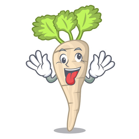 Crazy fresh organic parsnip vegetable cartoon style vector illustration