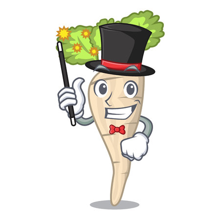 Magician fresh organic parsnip vegetable cartoon style vector illustration