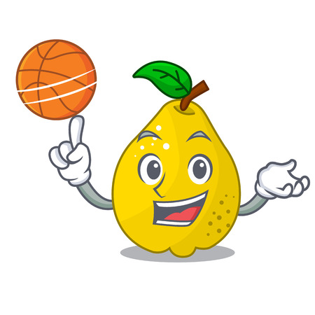 With basketball character ripe quince fruit with leaf vector illustration